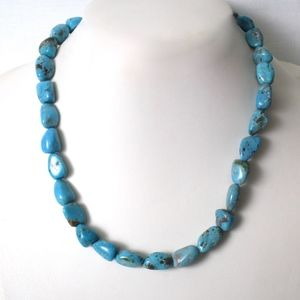 Turquoise Chunky Nugget Necklace Sterling